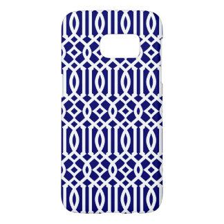 Marine-Blau-und weißesmodernes Gitter-Muster
