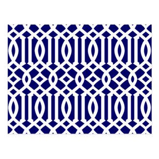 Marine-Blau-und weißesmodernes Gitter-Muster Postkarte