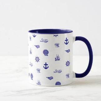 Marine-Blau-und weißesseemuster Tasse