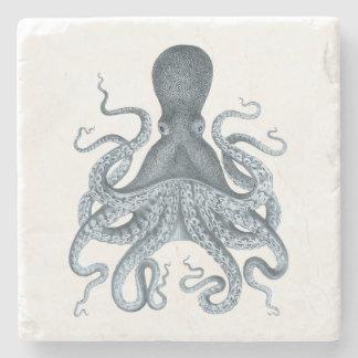 Marine-Blau-Vintage Kraken-Illustration Steinuntersetzer