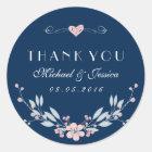 Marine-Blau-Vintager Blumen-Hochzeits-Aufkleber Runder Aufkleber