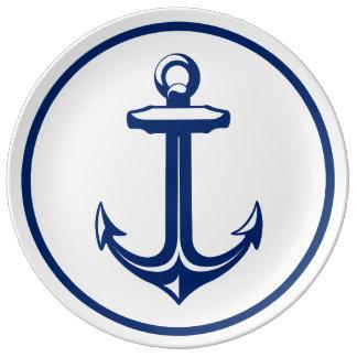 Marine-Blau-weißer eleganter Anker Porzellanteller