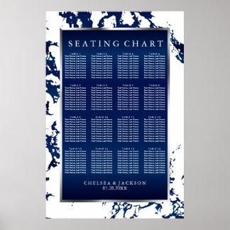 Marine-Blau-, weißersatin u. Silber - Poster