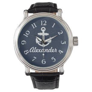 Marine-Blau-/weißerseeanker-kundenspezifische Uhr