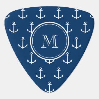 Marine-Blau-weißes Anker-Muster, Ihr Monogramm Plektrum