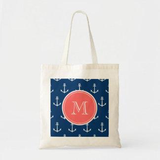 Marine-Blau-weißes Anker-Muster, korallenrotes Mon Tasche