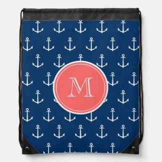 Marine-Blau-weißes Anker-Muster, korallenrotes Mon Turnbeutel