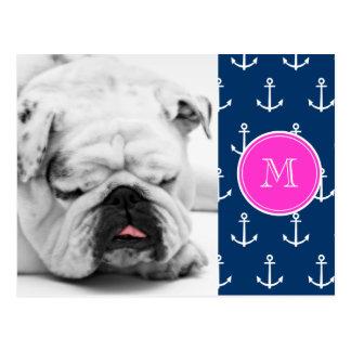Marine-Blau-weißes Anker-Muster, Pink-Monogramm Postkarte