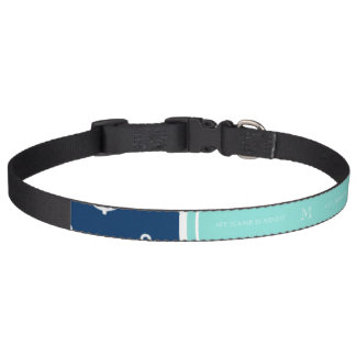 Marine-Blau-weißes Anker-Muster, tadelloses grünes Haustierhalsband