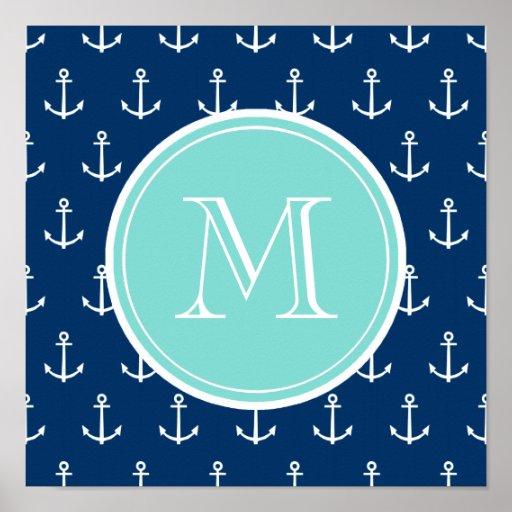 Marine-Blau-weißes Anker-Muster, tadelloses grünes Plakatdruck
