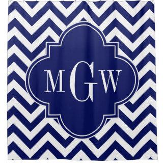 Marine-Blau weißes Fahrwerkes Zickzack Monogramm Duschvorhang