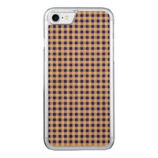 Marine-Blau-weißes Gingham-Muster Carved iPhone 8/7 Hülle