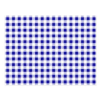 Marine-Blau-weißes Gingham-Muster Postkarte