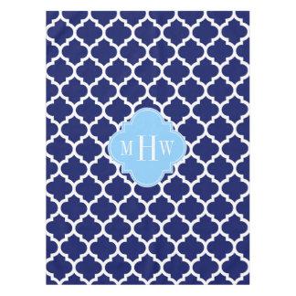 Marine-Blau weißes Himmel-Blau-Namen-Monogramm Tischdecke