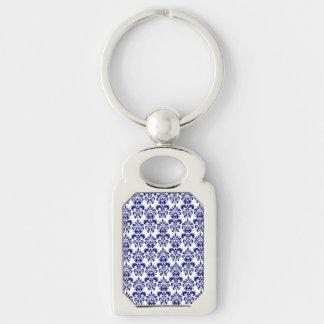 Marine-Blau, weißes Vintages Damast-Muster 2 Schlüsselanhänger