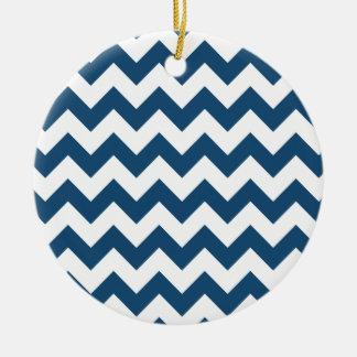 Marine-Blau-Zickzack Stripes Zickzack Muster Keramik Ornament