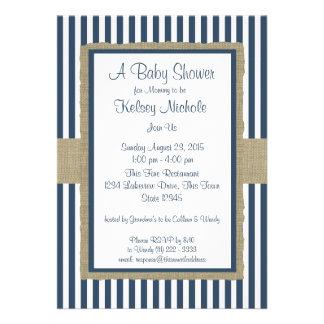 Marine-blaue Streifen-Babyparty Einladungskarten