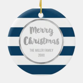 Marine-blaue Streifen-Silber-frohe Weihnacht-Foto Keramik Ornament