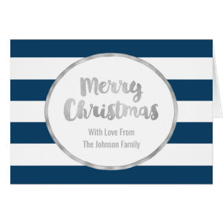 Marine-blaue Streifen-Silber-frohe Weihnacht-Karte Karte
