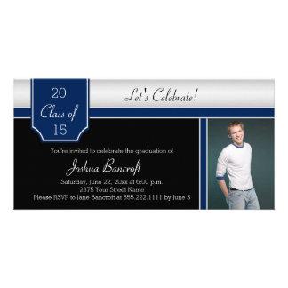 Marine-blaues Schwarz-Silber-Foto-Abschluss-Party Individuelle Photo Karten