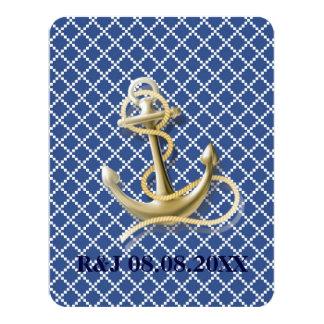 Marine-Blaustrandanker-Seehochzeit Karte