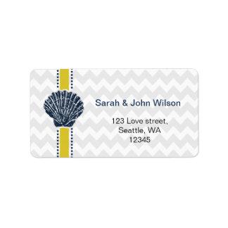 Marine-Blauund Gelbseashell-Hochzeits-Briefpapier Adressaufkleber
