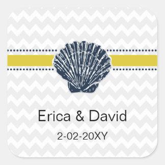 Marine-Blauund Gelbseashell-Hochzeits-Briefpapier Quadratischer Aufkleber
