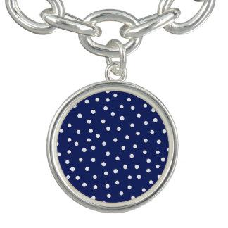 Marine-Blauund Weißconfetti-Punkt-Muster Charm Armband