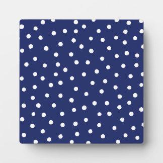 Marine-Blauund Weißconfetti-Punkt-Muster Fotoplatte