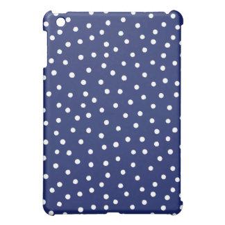 Marine-Blauund Weißconfetti-Punkt-Muster iPad Mini Hülle