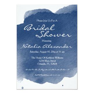Marine-Blauwatercolor-Brautparty-Einladung Karte