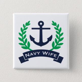 Marine-Ehefrau-Anker Quadratischer Button 5,1 Cm