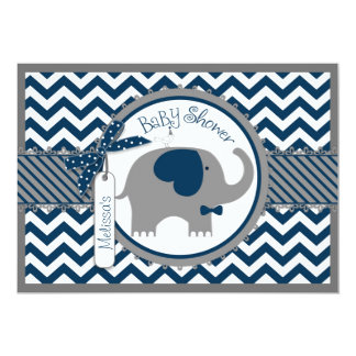 Marine-Elefant-Bogen-Krawatten-Zickzack 12,7 X 17,8 Cm Einladungskarte