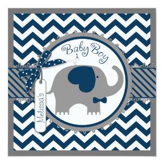 Marine-Elefant und Zickzack Druck-Baby-Dusche Quadratische 13,3 Cm Einladungskarte