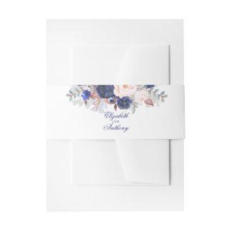 Marine-elegante mit Blumenhochzeit Einladungsbanderole