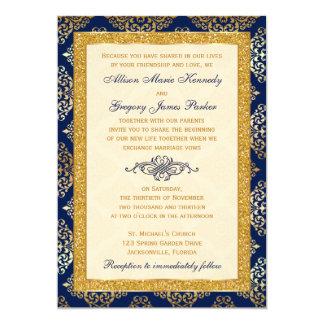 Marine, Elfenbein, GoldGlitter, Damast-Hochzeit 12,7 X 17,8 Cm Einladungskarte