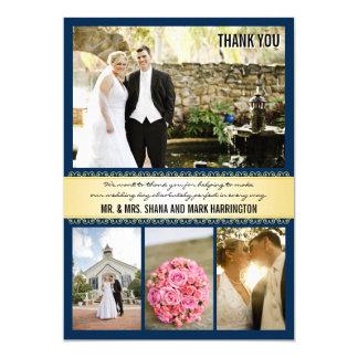 Marine-Goldc$multi-Foto Hochzeit danken Ihnen 12,7 X 17,8 Cm Einladungskarte