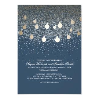 Marine-Goldschnur beleuchtet Glitter-Vintage 12,7 X 17,8 Cm Einladungskarte