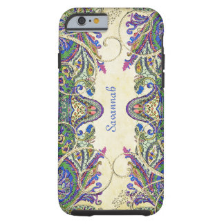 Marine-GoldVintager Pfau-Paisley iPhone 4 Fall Tough iPhone 6 Hülle