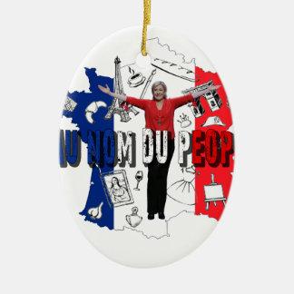 Marine Le Pen Ovales Keramik Ornament