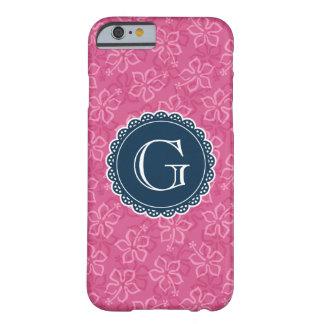 Marine-Monogramm-Rosa-Hibiskus-Muster Barely There iPhone 6 Hülle