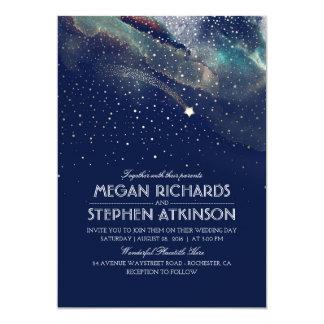 Marine-NachtgoldSternschnuppen-elegante Hochzeit Karte