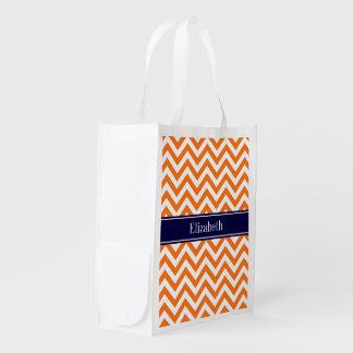 Marine-Namen-Monogramm Kürbis-orange Fahrwerkes Wiederverwendbare Einkaufstasche