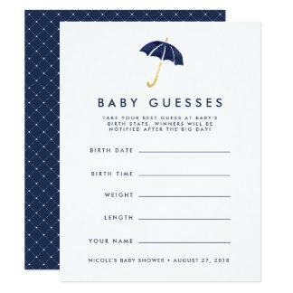 Marine-Regenschirm-Babyparty-Ratespiel Karte