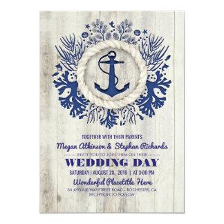 Marine-Seeanker-rustikale Strand-Hochzeit Karte