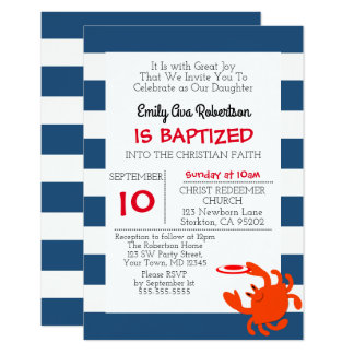 Marine-Seekrabben-personalisierte kleine Taufe 8,9 X 12,7 Cm Einladungskarte