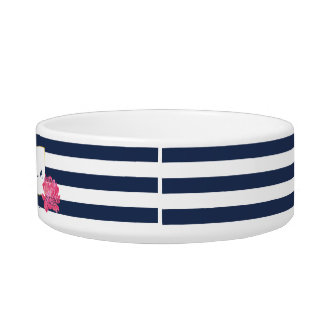 Marine-Streifen u. rosa Katzen Napf