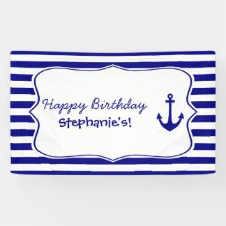 Marine-Streifen und Seeanker-Geburtstags-Party Banner