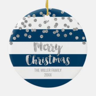 Marine Stripes silbernes Confetti-WeihnachtsFoto Keramik Ornament