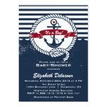 Marine u. rote rustikale SeeBabyparty-Einladung